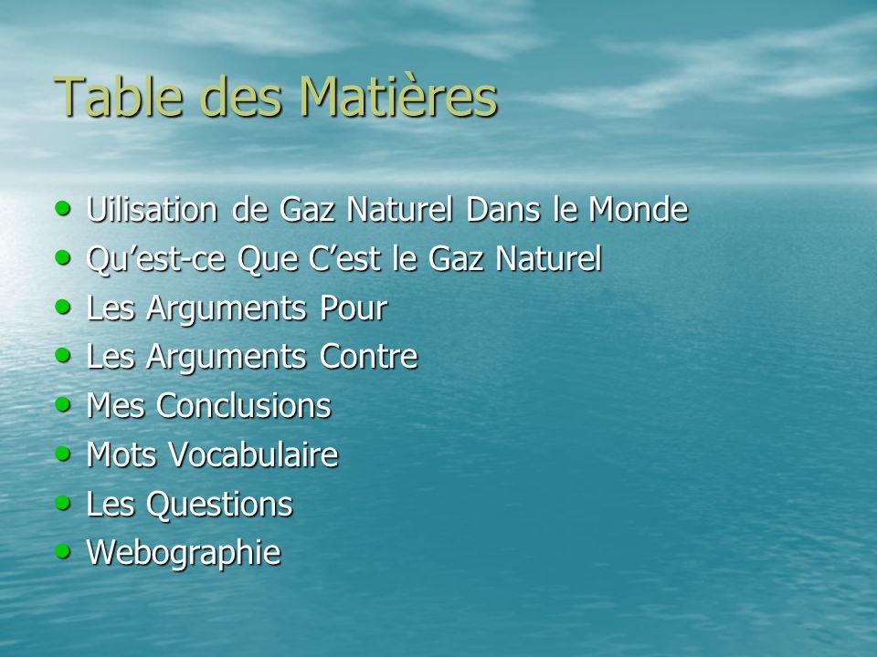 Table des Matières Uilisation de Gaz Naturel Dans le Monde