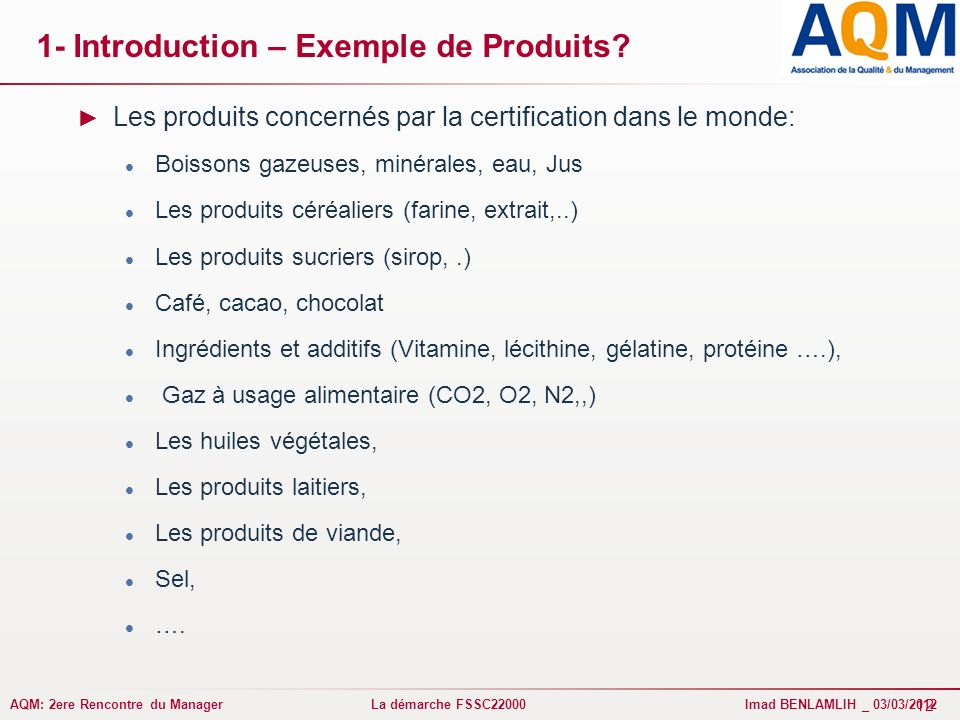 1- Introduction – Exemple de Produits