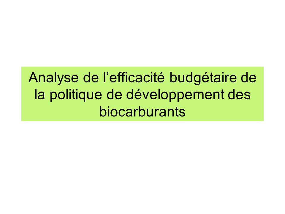 Analyse de l'efficacité budgétaire de la politique de développement des biocarburants