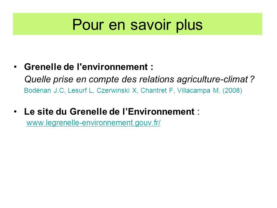 Pour en savoir plus Grenelle de l environnement :