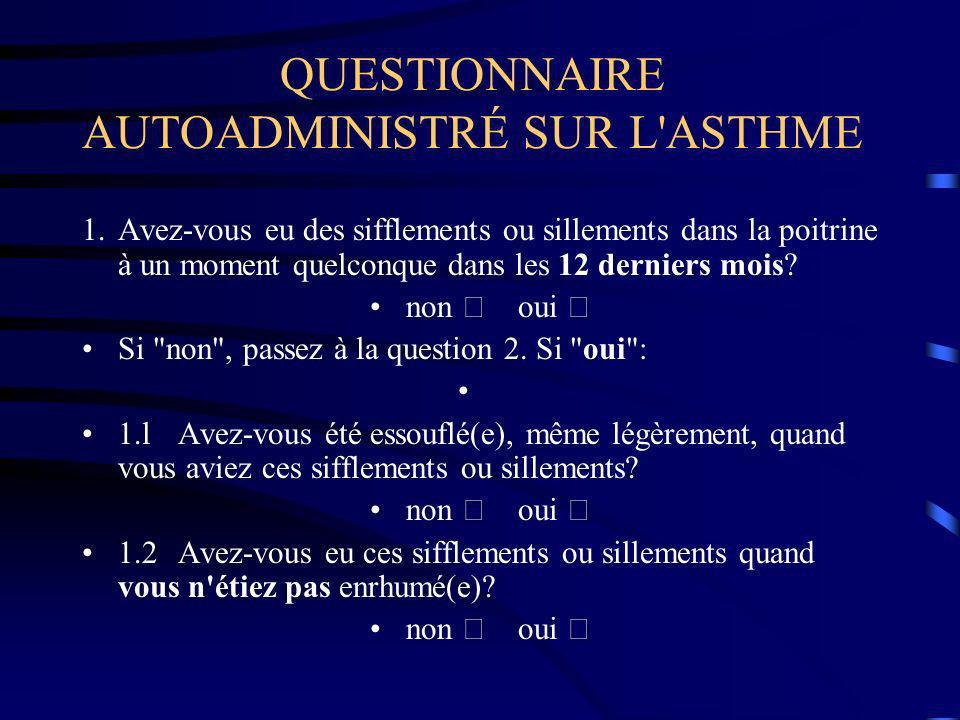QUESTIONNAIRE AUTOADMINISTRÉ SUR L ASTHME