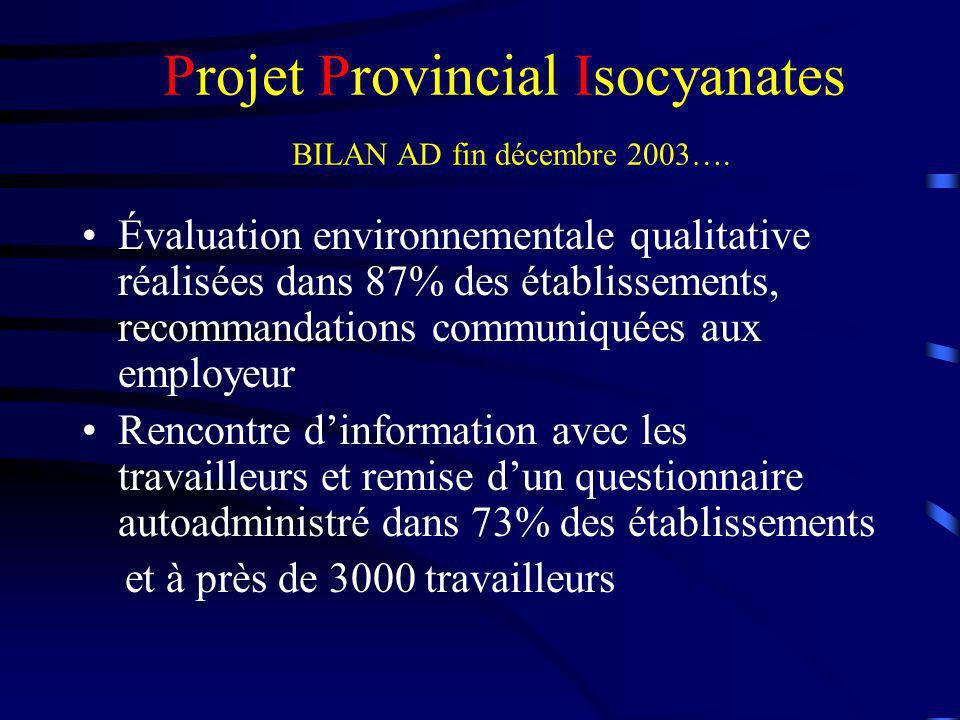 Projet Provincial Isocyanates BILAN AD fin décembre 2003….