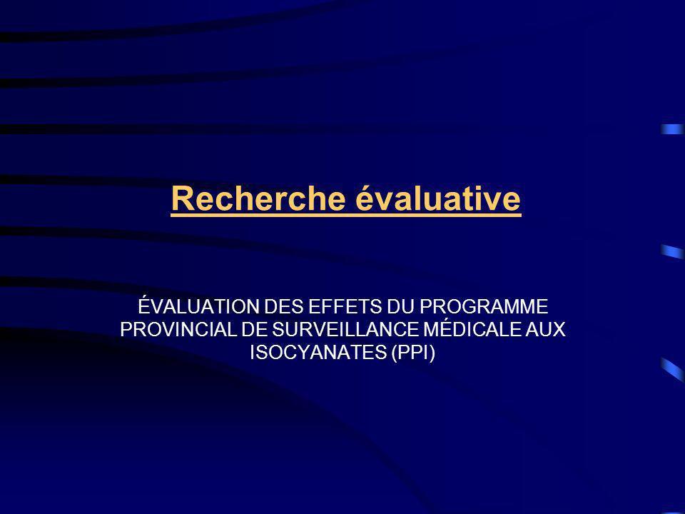 Recherche évaluative ÉVALUATION DES EFFETS DU PROGRAMME PROVINCIAL DE SURVEILLANCE MÉDICALE AUX ISOCYANATES (PPI)