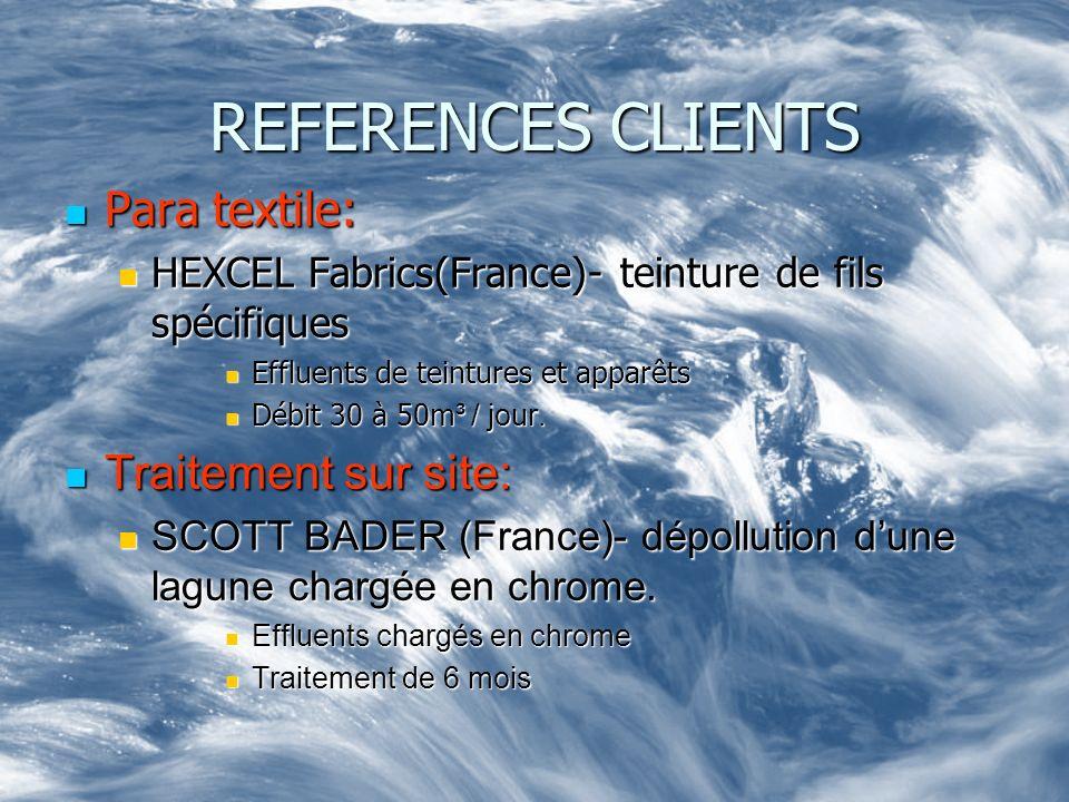 REFERENCES CLIENTS Para textile: Traitement sur site: