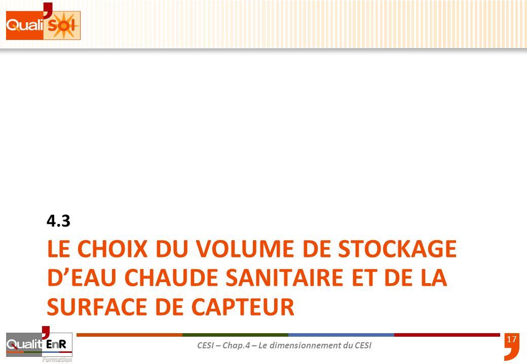 4.3 LE CHOIX DU VOLUME DE STOCKAGE D'EAU CHAUDE SANITAIRE et de la surface de capteur