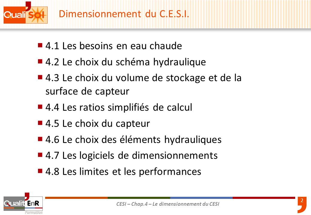 Dimensionnement du C.E.S.I.