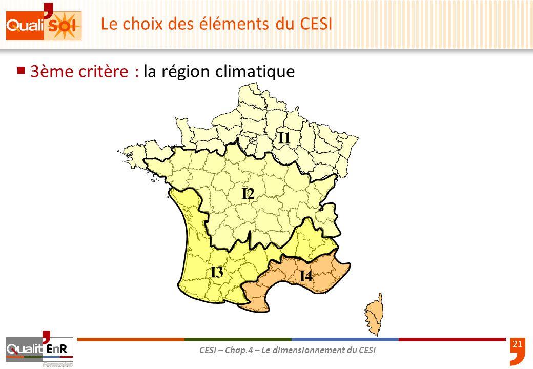 Le choix des éléments du CESI