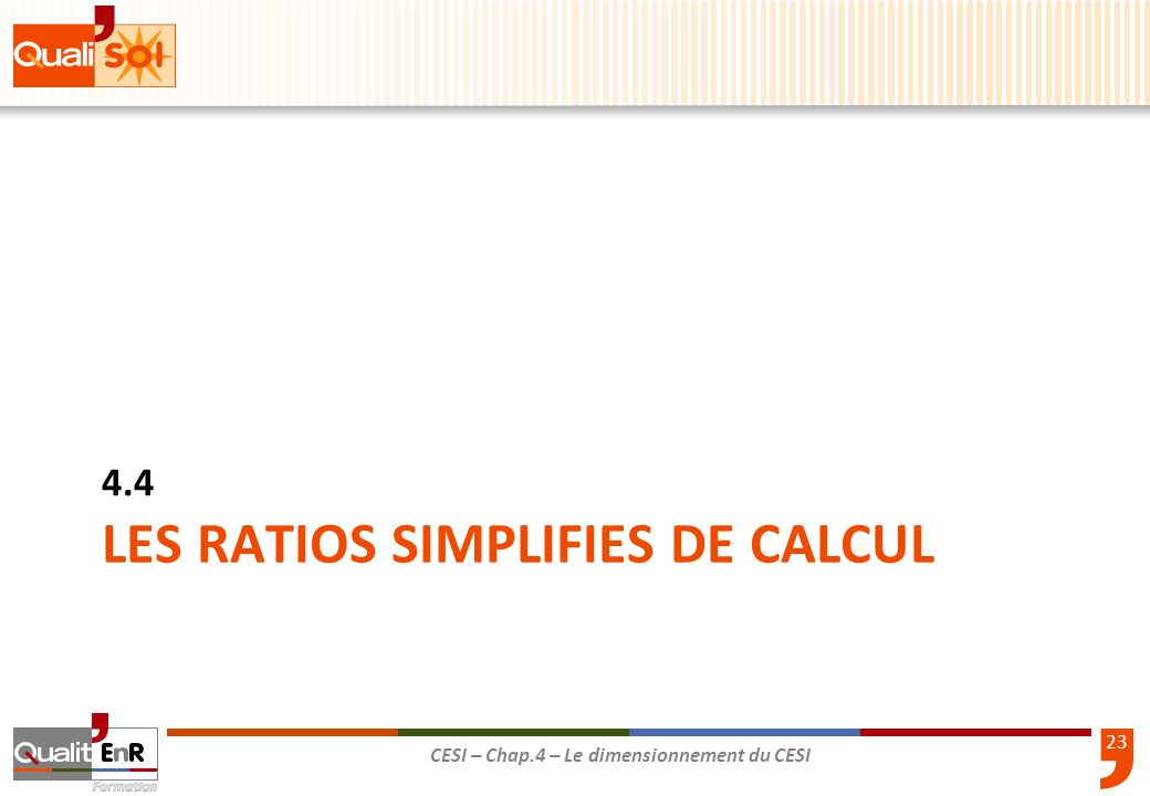 LES RATIOS SIMPLIFIES DE CALCUL