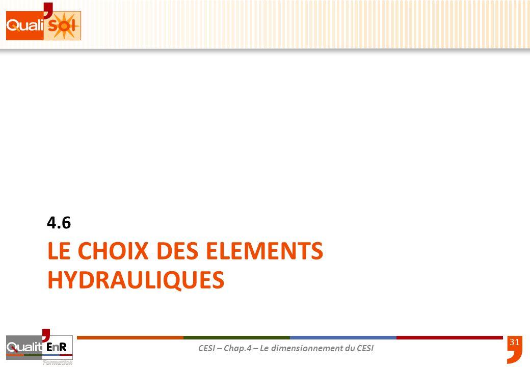 LE CHOIX DES ELEMENTS HYDRAULIQUES