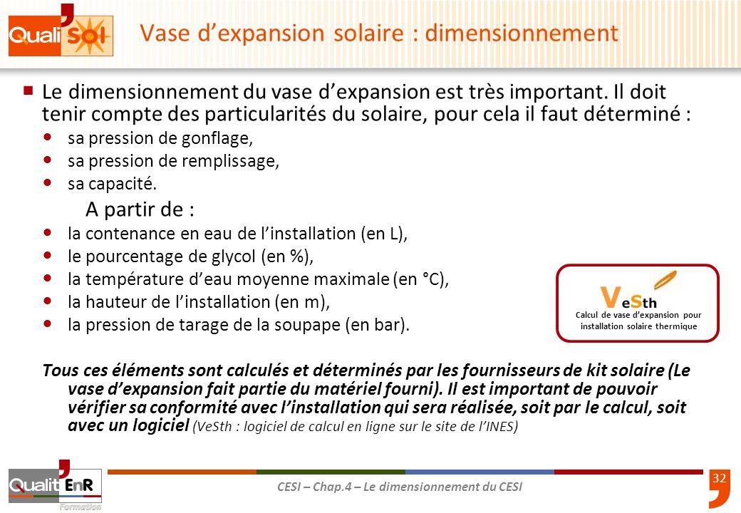 Vase d'expansion solaire : dimensionnement