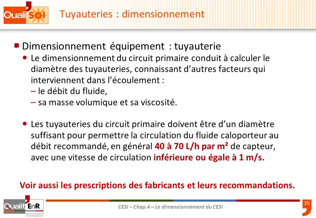 Tuyauteries : dimensionnement