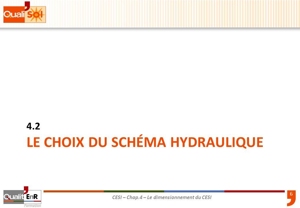 LE CHOIX DU schéma HYDRAULIQUE
