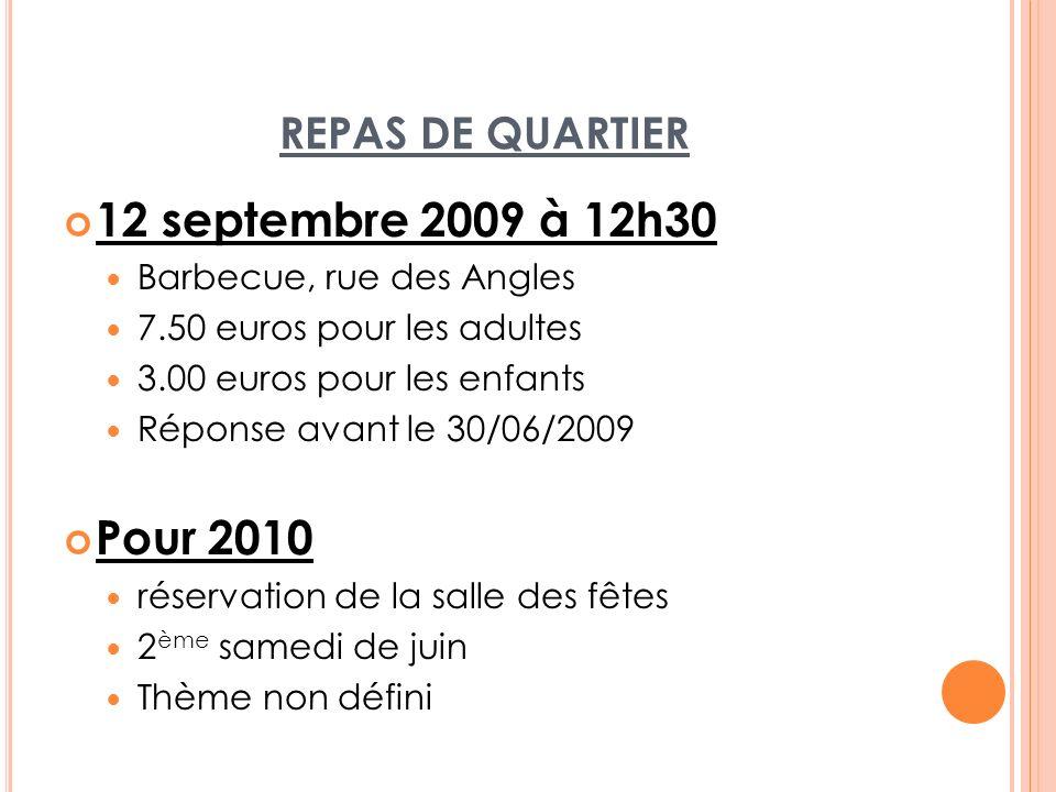 12 septembre 2009 à 12h30 Pour 2010 REPAS DE QUARTIER
