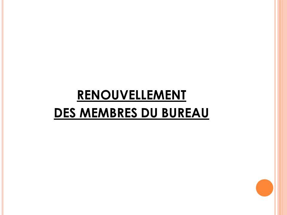 RENOUVELLEMENT DES MEMBRES DU BUREAU