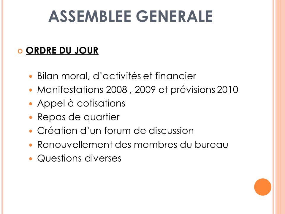 ASSEMBLEE GENERALE ORDRE DU JOUR Bilan moral, d'activités et financier