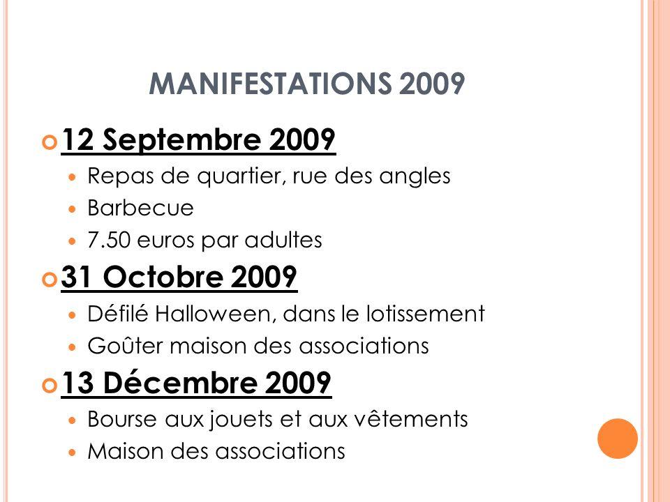 MANIFESTATIONS 2009 12 Septembre 2009 31 Octobre 2009 13 Décembre 2009