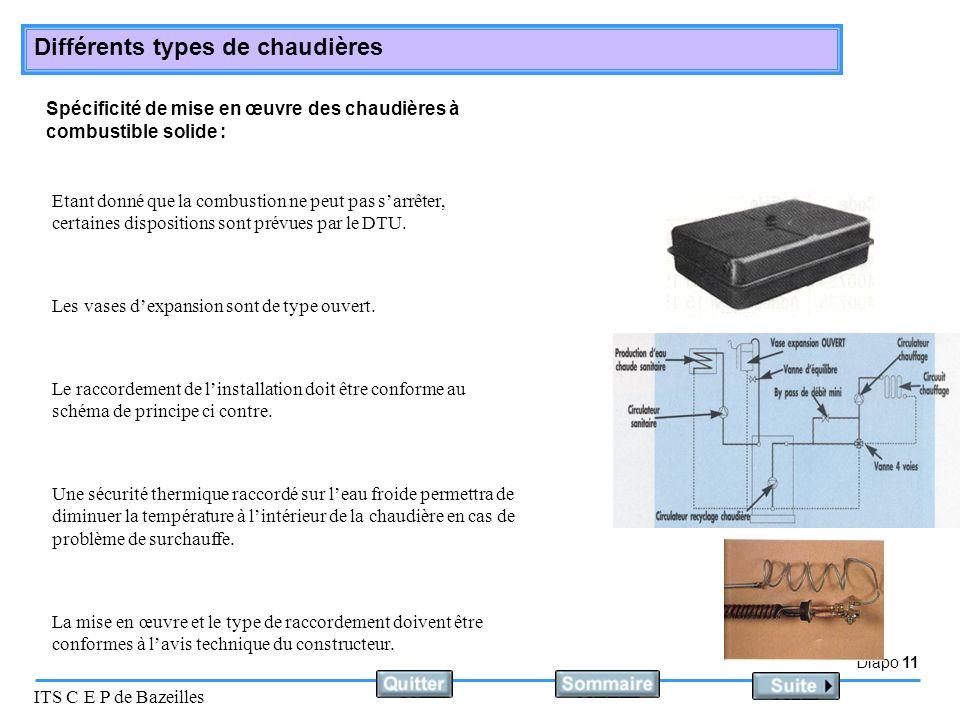Spécificité de mise en œuvre des chaudières à combustible solide :