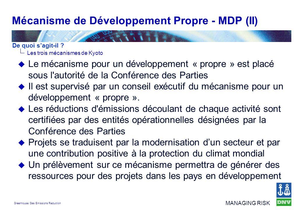 Mécanisme de Développement Propre - MDP (II)