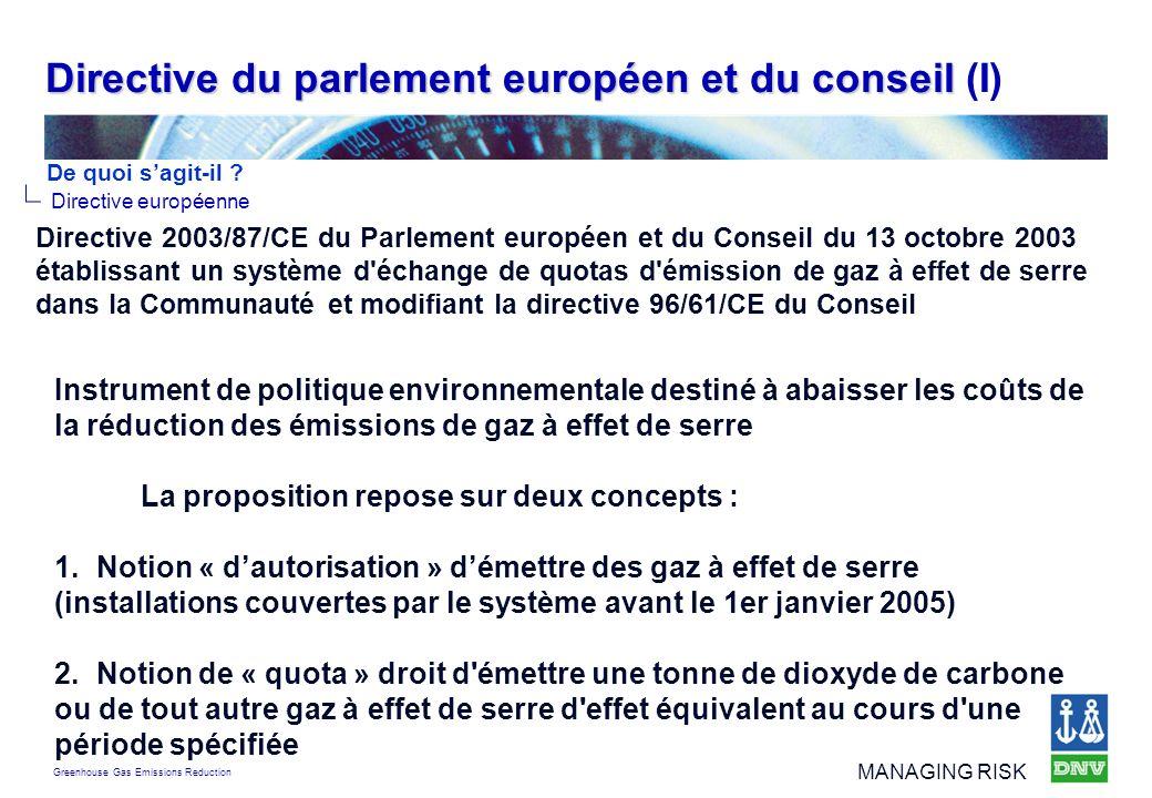 Directive du parlement européen et du conseil (I)