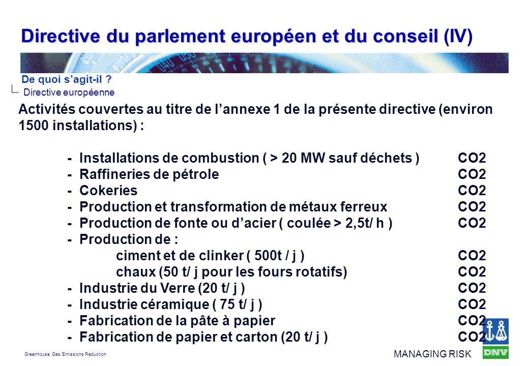 Directive du parlement européen et du conseil (IV)