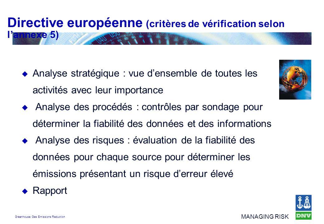 Directive européenne (critères de vérification selon l'annexe 5)