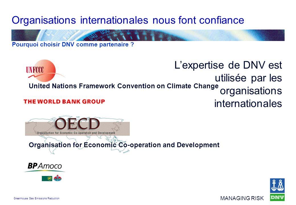 Organisations internationales nous font confiance