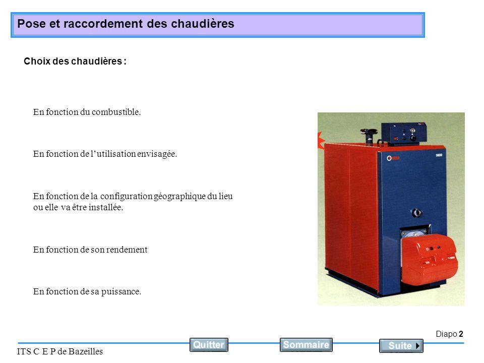 Choix des chaudières : En fonction du combustible. En fonction de l'utilisation envisagée.