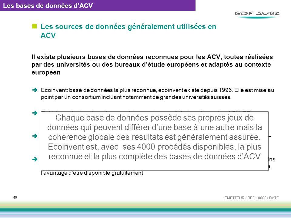 Les sources de données généralement utilisées en ACV
