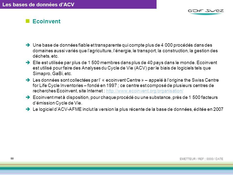 Ecoinvent Les bases de données d'ACV