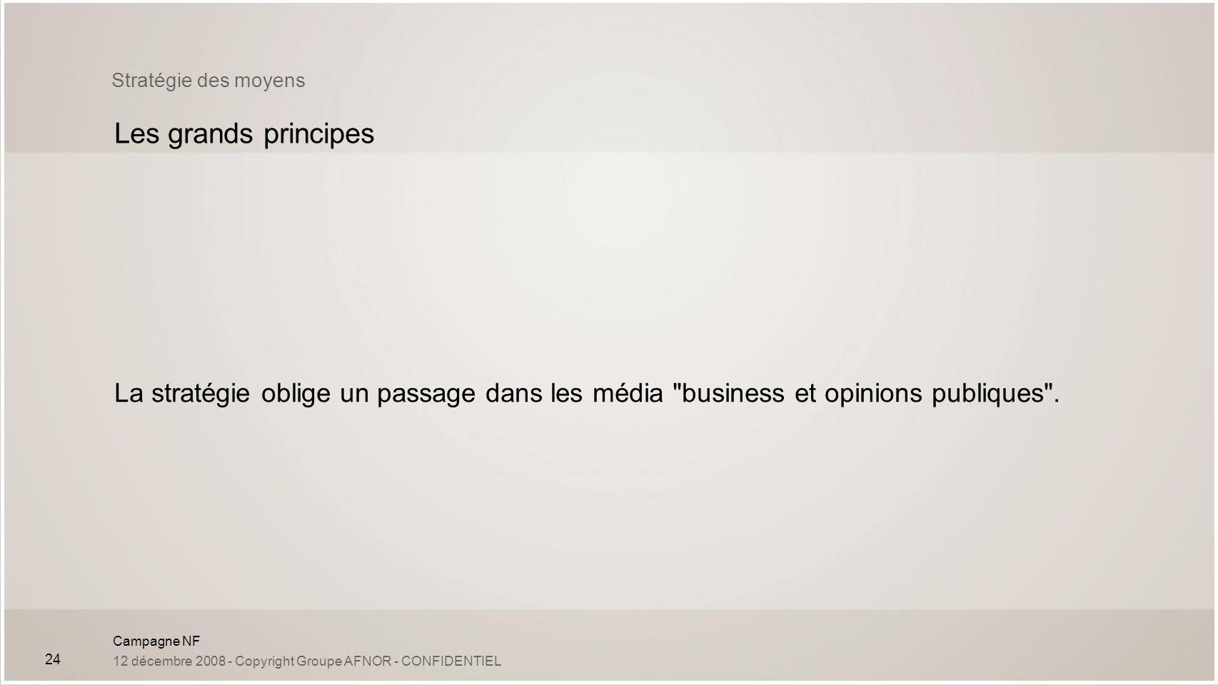 Stratégie des moyens Les grands principes.