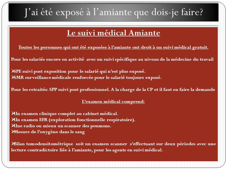 Le suivi médical Amiante L'examen médical comprend: