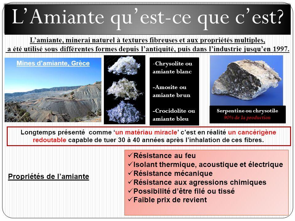 Serpentine ou chrysotile Propriétés de l'amiante