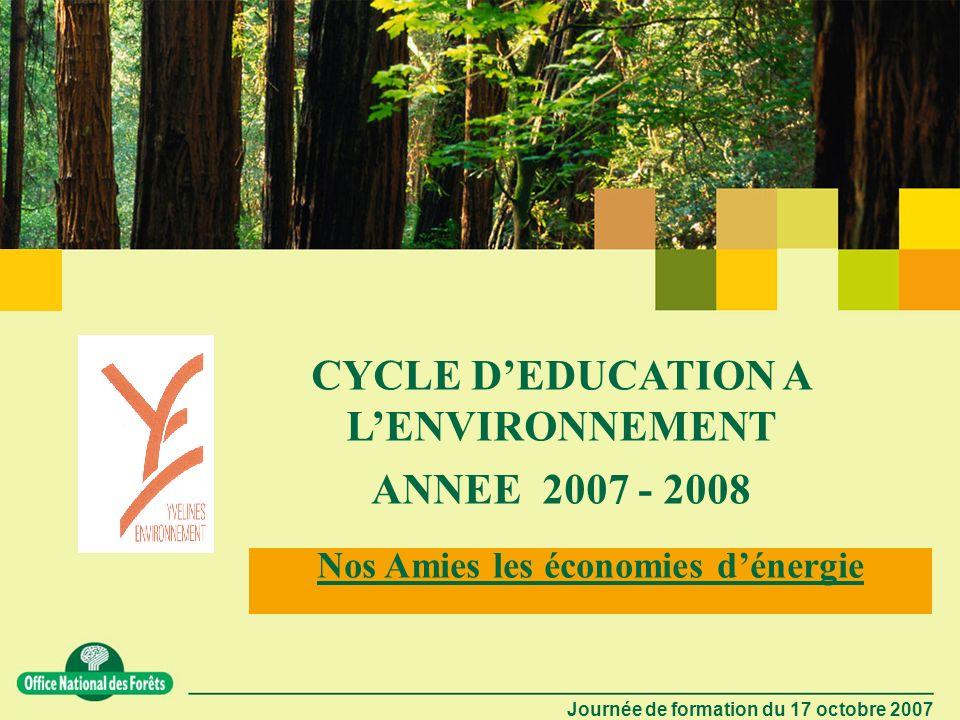 CYCLE D'EDUCATION A L'ENVIRONNEMENT Nos Amies les économies d'énergie