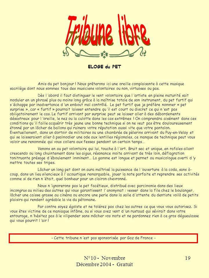 Tribune libre N°10 - Novembre Décembre 2004 - Gratuit ELOGE du PET