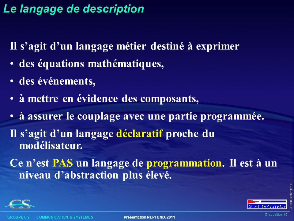 Le langage de description