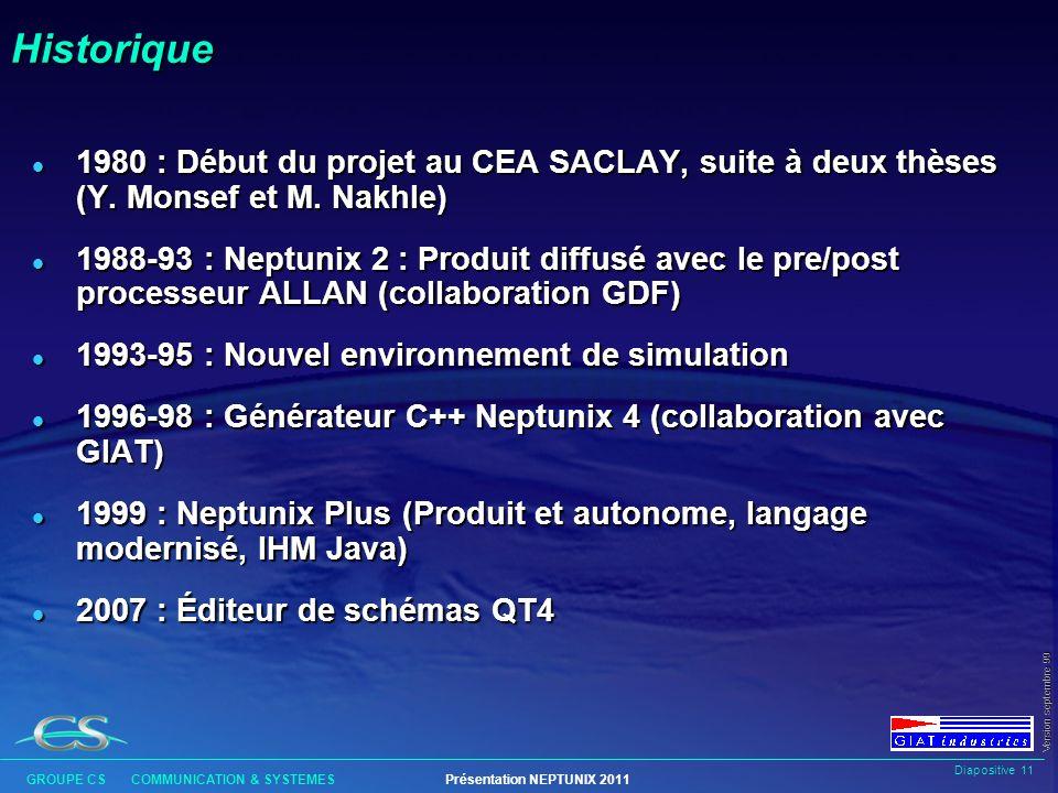 Historique 1980 : Début du projet au CEA SACLAY, suite à deux thèses (Y. Monsef et M. Nakhle)