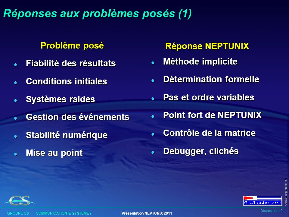 Réponses aux problèmes posés (1)