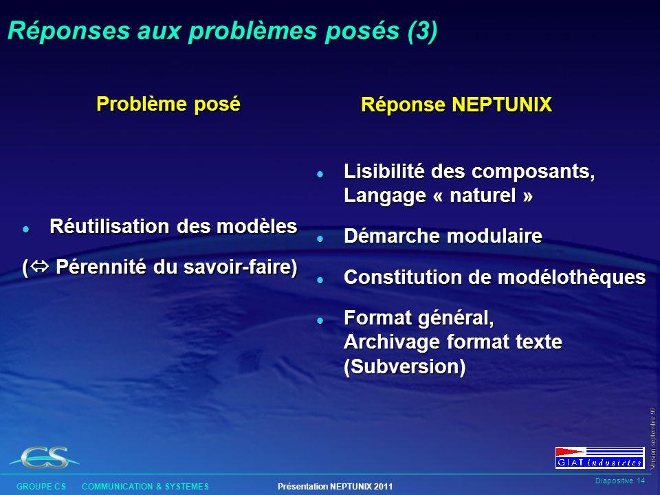 Réponses aux problèmes posés (3)