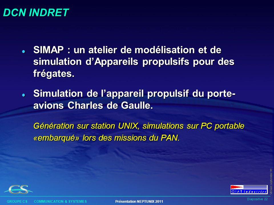 DCN INDRET SIMAP : un atelier de modélisation et de simulation d'Appareils propulsifs pour des frégates.