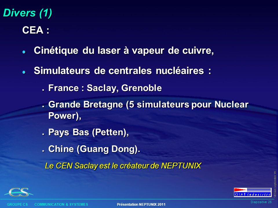 Divers (1) CEA : Cinétique du laser à vapeur de cuivre,