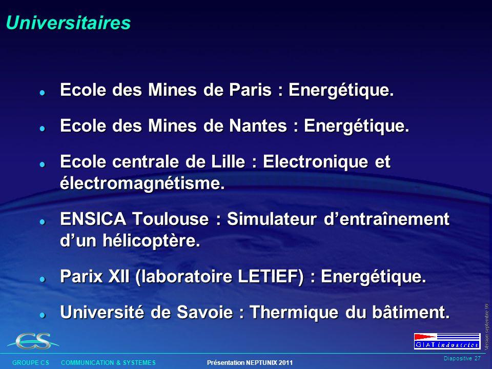 Universitaires Ecole des Mines de Paris : Energétique.