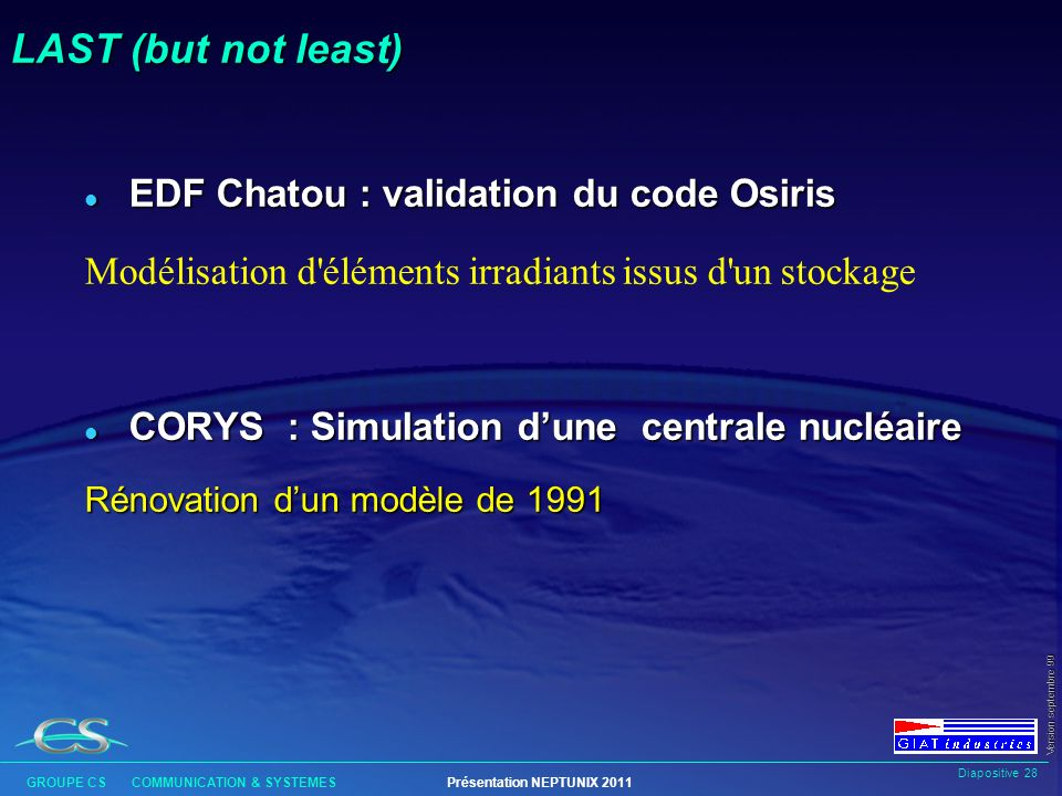 LAST (but not least) EDF Chatou : validation du code Osiris