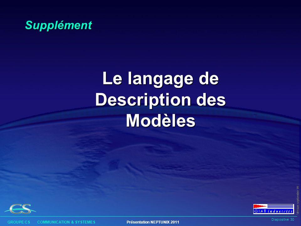 Le langage de Description des Modèles