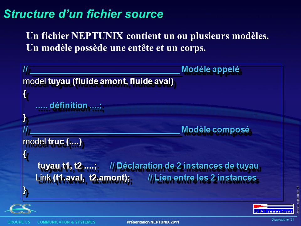 Structure d'un fichier source