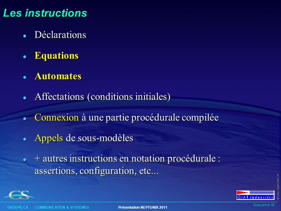 Les instructions Déclarations Equations Automates