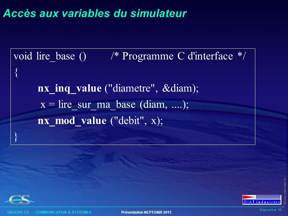 Accès aux variables du simulateur