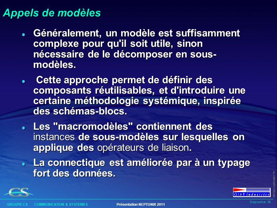 Appels de modèles Généralement, un modèle est suffisamment complexe pour qu il soit utile, sinon nécessaire de le décomposer en sous-modèles.
