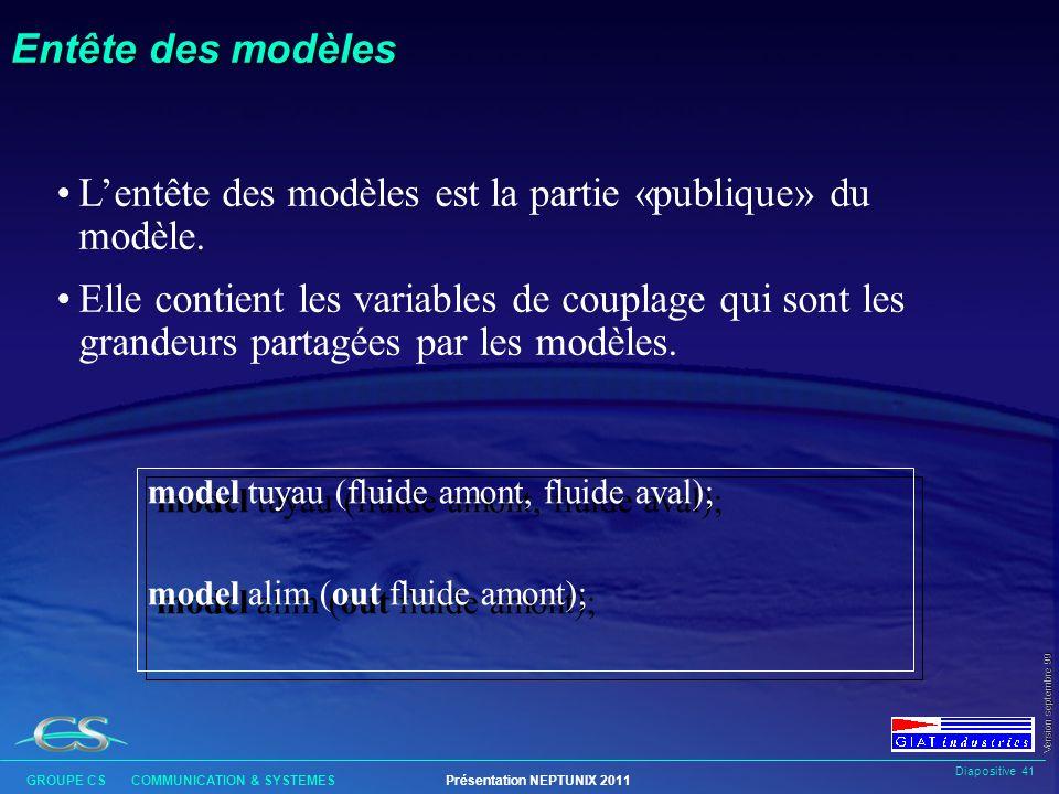 L'entête des modèles est la partie «publique» du modèle.