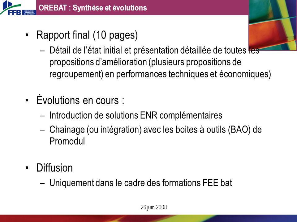 Rapport final (10 pages) Évolutions en cours : Diffusion