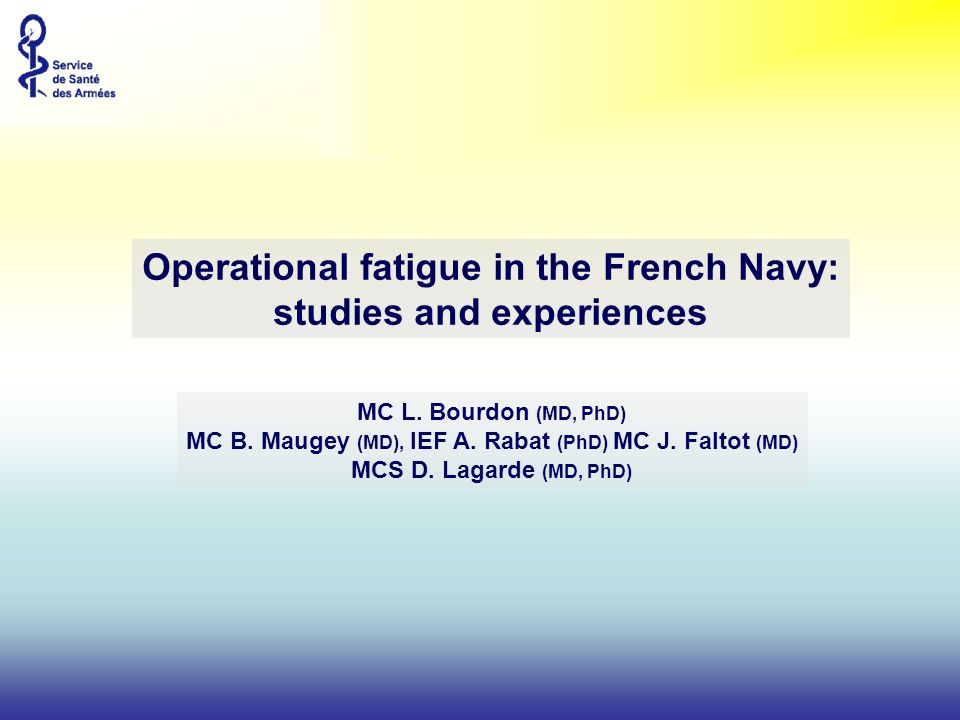 Operational fatigue in the French Navy: studies and experiences
